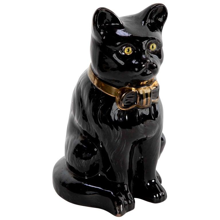 French glazed Ceramic Black Cat For Sale