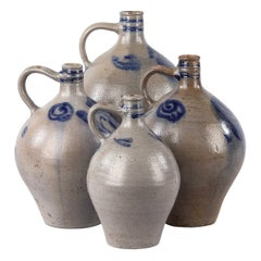 French Glazed Earthenware Cruches Pottery, 1920s