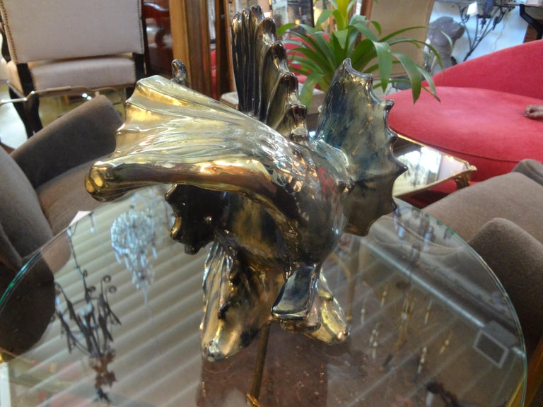 Art Deco French Glazed Terracotta Fish Sculpture For Sale