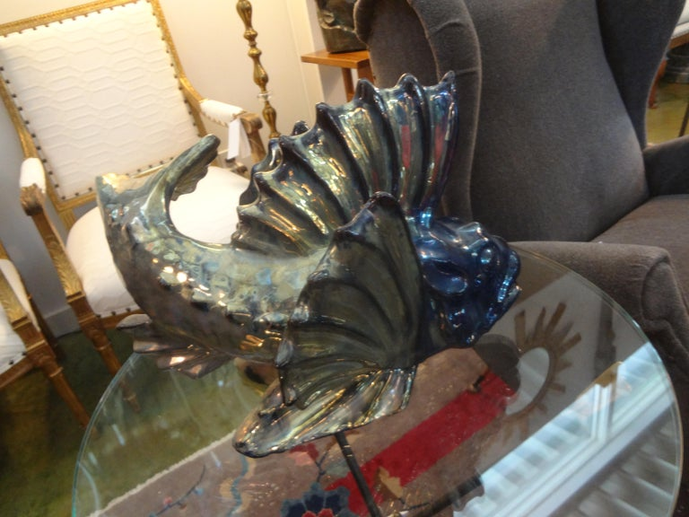 French Glazed Terracotta Fish Sculpture In Good Condition For Sale In Houston, TX