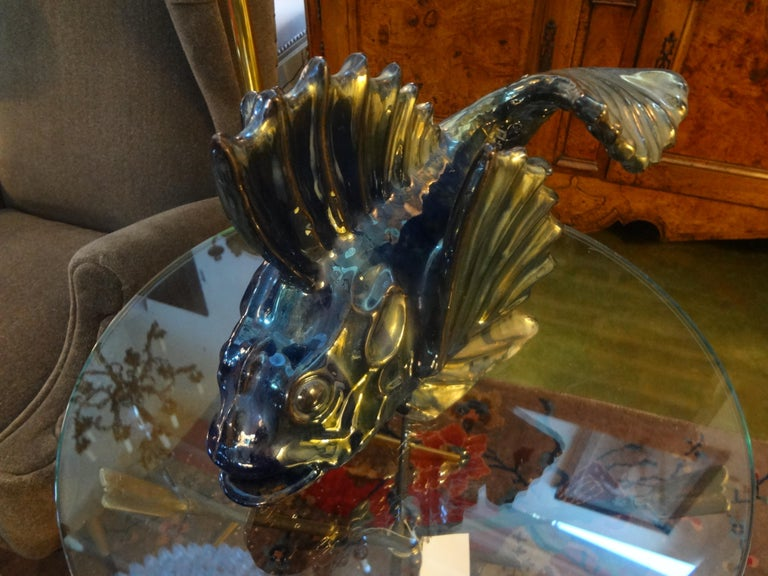 French Glazed Terracotta Fish Sculpture For Sale 1