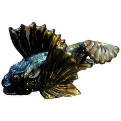French Glazed Terracotta Fish Sculpture