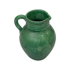 French Glazed Terracotta Green Pitcher from Biot Factory, 1950s