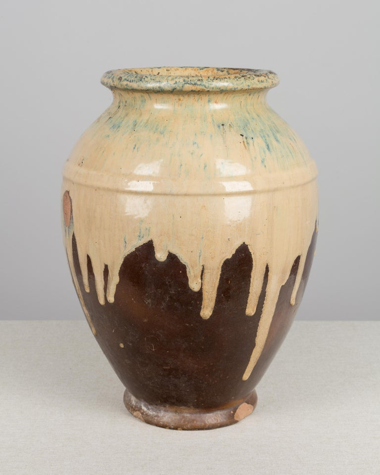 French Provincial French Glazed Terracotta Pottery Vase For Sale