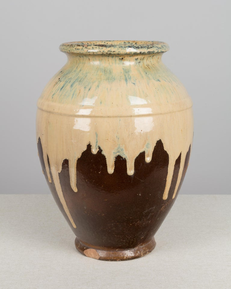 French Glazed Terracotta Pottery Vase In Good Condition For Sale In Winter Park, FL
