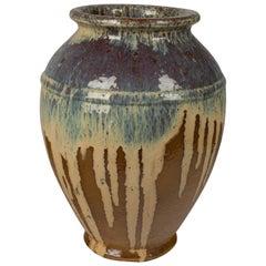 French Glazed Terracotta Pottery Vase