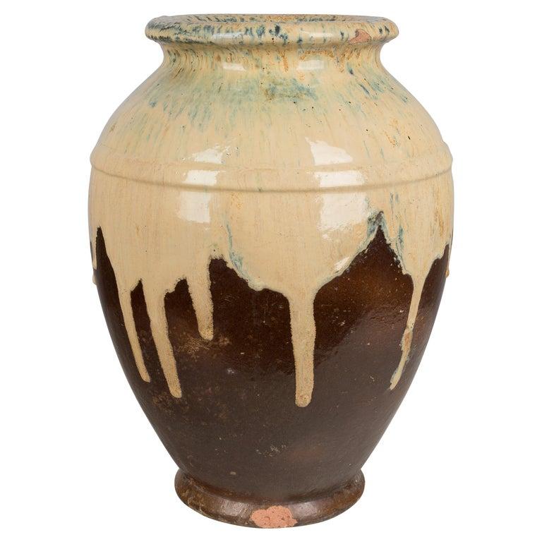 French Glazed Terracotta Pottery Vase For Sale