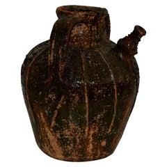 French Glazed Terracotta Walnut Oil Jug, 18th Century