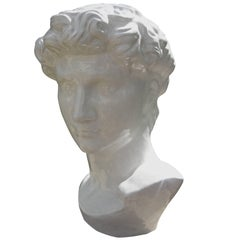 French Glazed White Terra Cotta Bust Of A Greek, Artist Signed, Circa. 1920