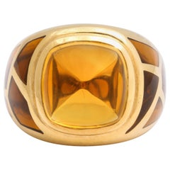 French Gold and Citrine Dome Ring