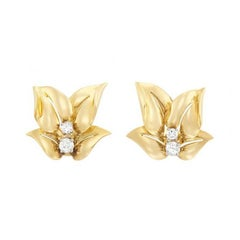 French Gold and Diamond Leaf Earrings