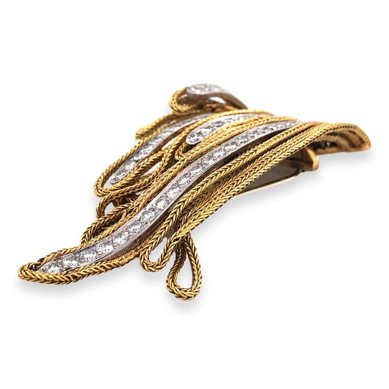 Brilliant Cut French Gold and Diamond Waterfall Brooch For Sale