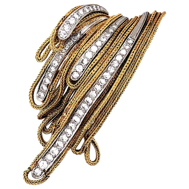 French Gold and Diamond Waterfall Brooch For Sale