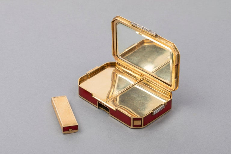 French Gold And Enamel Art Deco Minaudi 232 Re Box For Sale At