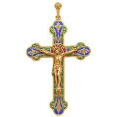 French Gold and Enamel Crucifix Pendant
