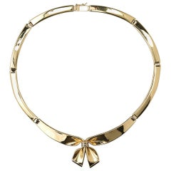 French Gold Bow Necklace