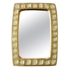 Mithé Espelt French Gold Ceramic and Fused White Glass Rectangular Mirror