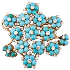 French Gold Diamonds and Turquoise Brooch