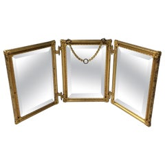 French Gold Gilded Tri Fold Travel Dresser Mirror