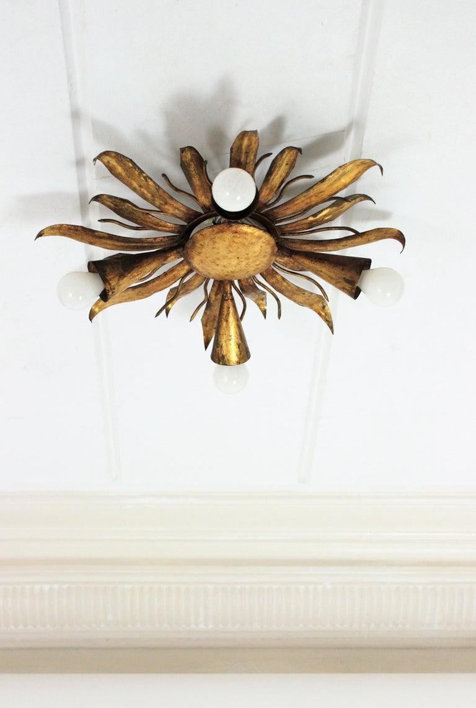 French Gold Gilt Iron Sunburst Flush Mount or Light Fixture, 1940s For Sale 8