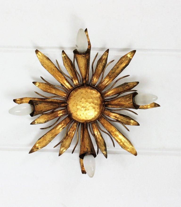 French Gold Gilt Iron Sunburst Flush Mount or Light Fixture, 1940s For Sale 9