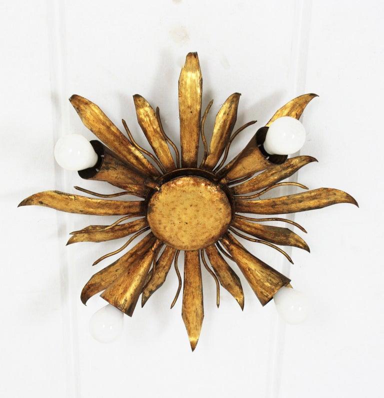 Neoclassical Revival French Gold Gilt Iron Sunburst Flush Mount or Light Fixture, 1940s For Sale
