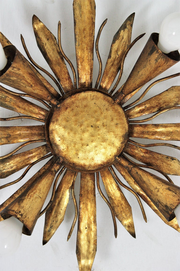 French Gold Gilt Iron Sunburst Flush Mount or Light Fixture, 1940s For Sale 1