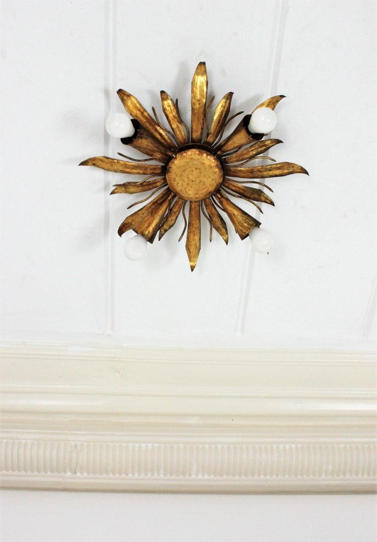French Gold Gilt Iron Sunburst Flush Mount or Light Fixture, 1940s For Sale 3