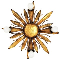 French Gold Gilt Iron Sunburst Flush Mount or Light Fixture, 1940s
