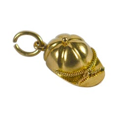 French Gold Jockey Cap Charm Pendant