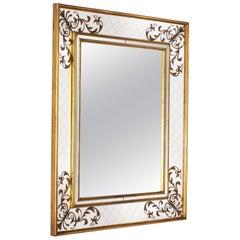 French Gold Leaf Églomisé Mirror with Gold Wood Frame, circa 1940