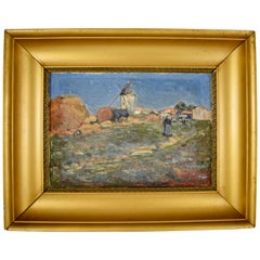 French Gold Leaf Framed Oil on Linen Landscape Painting, Marc Mongin, Dated 1919