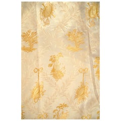 French, Gold Silk Embroidered Curtains with Fringe