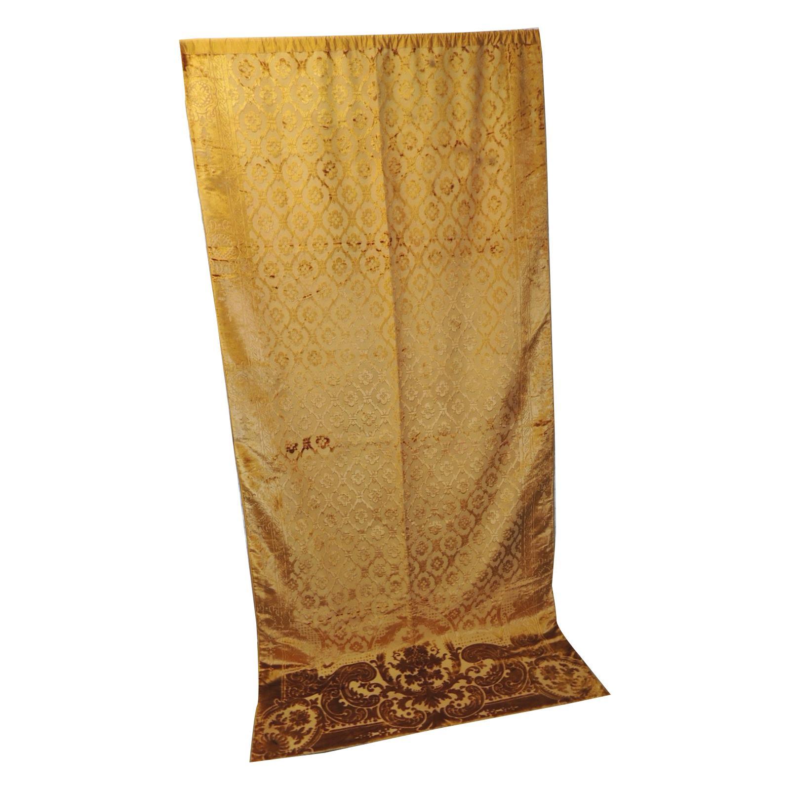 French Gold Silk Velvet Gaufrage Drapery Panel