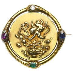 French Gold Spinning Cherub Brooch, circa 1890