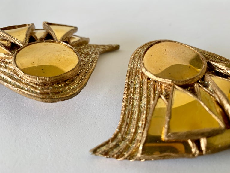 French Gold Talosel Architectural Statement Earrings  For Sale 8