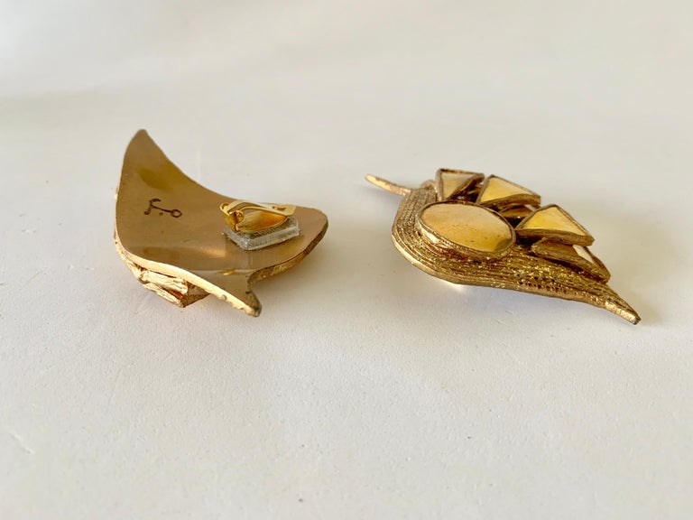 French Gold Talosel Architectural Statement Earrings  For Sale 9