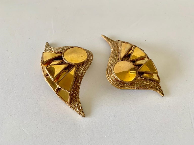 French Gold Talosel Architectural Statement Earrings  For Sale 10