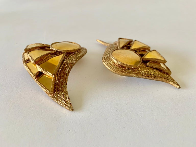 French Gold Talosel Architectural Statement Earrings  For Sale 12