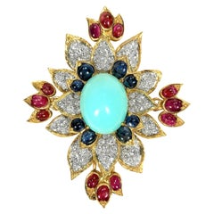 French Gold, Turquoise, Diamond, Ruby, and Sapphire Brooch by Jean-Thierry Bondt