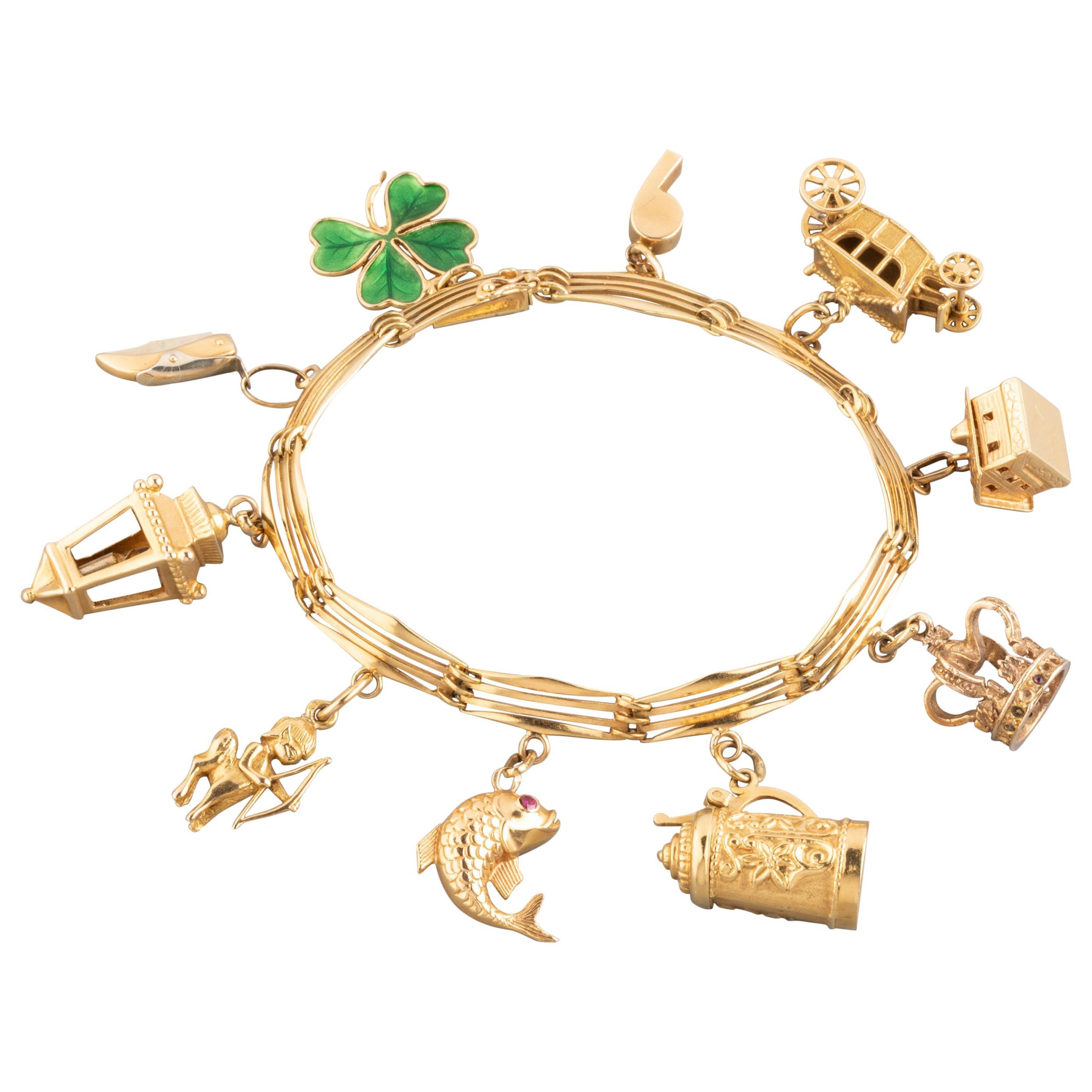 French Gold Vintage Charms Bracelet