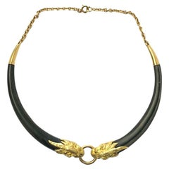 French Gold Wood Tiger Necklace