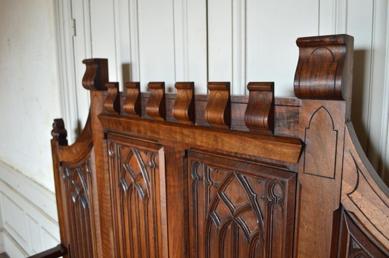 French Gothic Hall Chest Bench in Carved Walnut, circa 1890 For Sale 10
