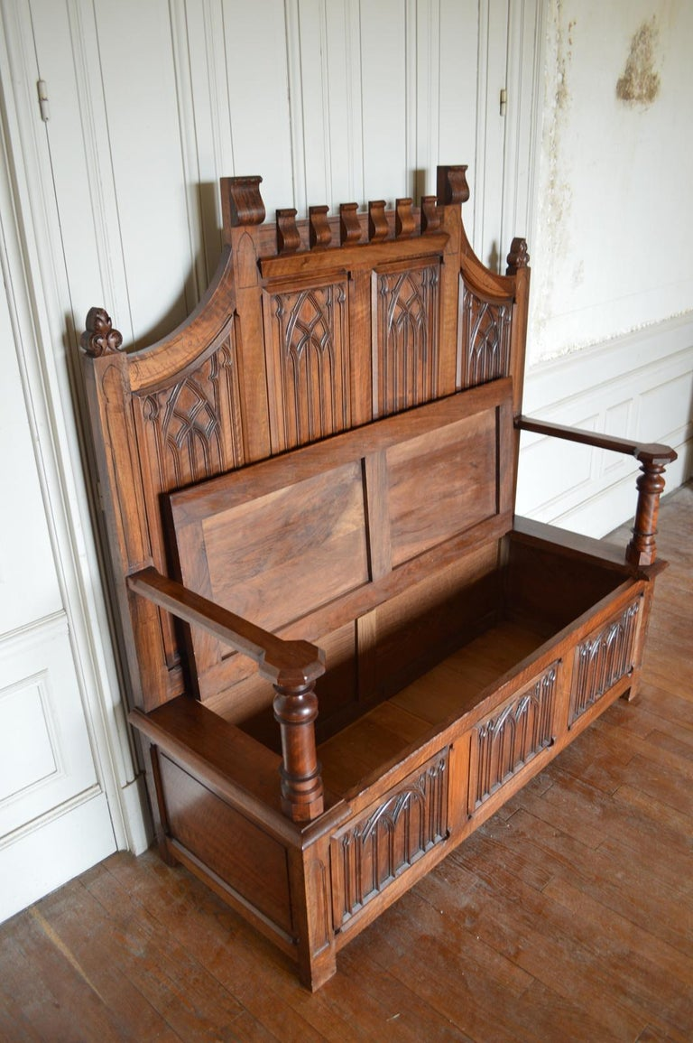 French Gothic Hall Chest Bench in Carved Walnut, circa 1890 For Sale 13