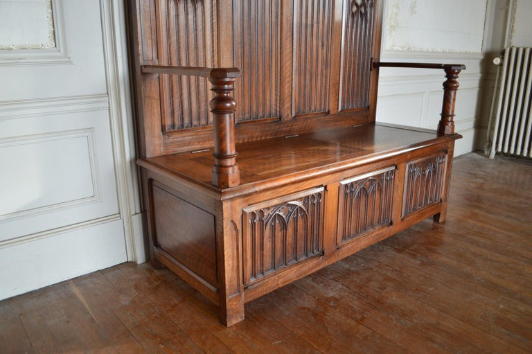 Wood French Gothic Hall Chest Bench in Carved Walnut, circa 1890 For Sale