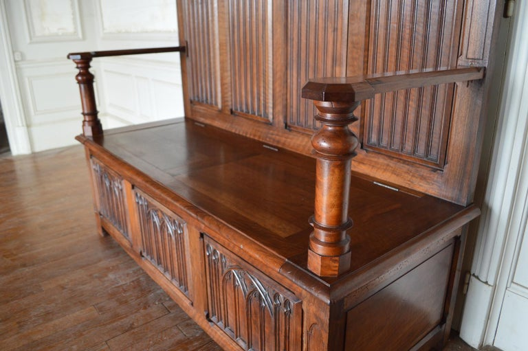 French Gothic Hall Chest Bench in Carved Walnut, circa 1890 For Sale 2