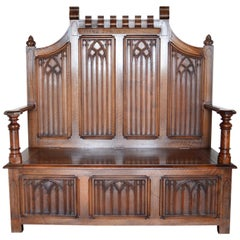 French Gothic Hall Chest Bench in Carved Walnut, circa 1890