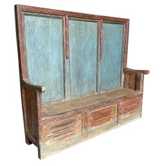 French Gothic Period Painted Bench