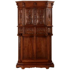 French Gothic Revival Carved Walnut Antique Cupboard Cabinet, circa 1880