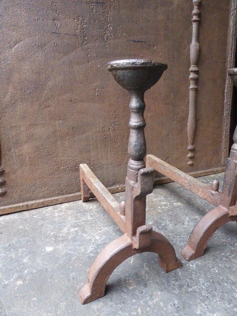 French Gothic Style Andirons or Firedogs In Good Condition For Sale In Amerongen, NL